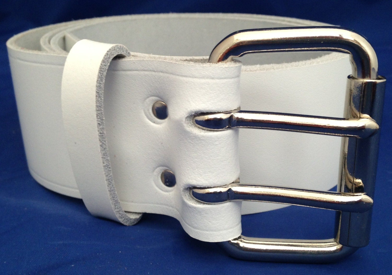 white leather 2 inch wide belt with 2 pronged buckle choice of