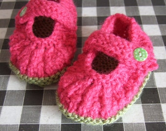 Newborn Baby Girl Hand Knitted Watermelon Pink & Green mary jane style ankle strap shoes bootees  To fit approx. 0-3 months. Baby shower