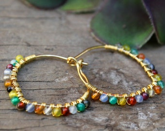 Calico Petal Hoops, Petal Hoop Earrings, Colorful Earrings, Wire Wrapped Jewelry, Lightweight Earrings, Hammered brass, Stone Hoops