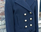 SALE Vintage Moschino Cheap and Chic Designer Jacket Navy Blue Wool from 1992 1993 Fall Collection Gold Buttons Perfect Condition Never Worn