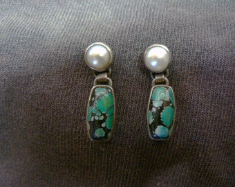 Turquoise  and Pearl  With Silver Earrings