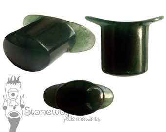 Dark Green Aventurine Oval Labret Lip Plug Piercing Stone Body Jewellery Handmade
