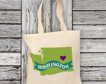Washington State Tote Bag Natural Cotton Canvas