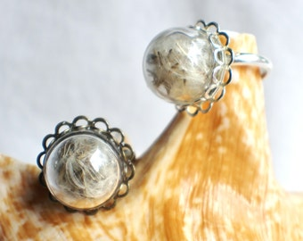Dandelion seed  ring, glass globe ring filled with dandelion seeds in silver or bronze.