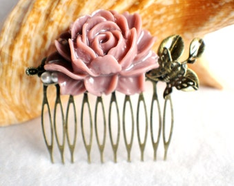 Plumb flower hair comb with butterfly and leaf, wedding hair comb with large resin flower and bronze accents
