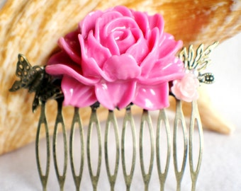 Pink flower hair comb with butterfly and leaf, wedding hair comb with large resin flower and bronze accents