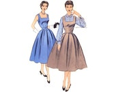 1950s Dress Pattern Advance 6914, Square Neck Jumper Dress w/ Inverted Pleat Skirt, Long Sleeve Blouse, Vintage Sewing Pattern Bust 30