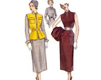 1940s Dress Pattern Simplicity 3113, Slim Skirt Dress w/ Slit Neckline & Collar, Sleeveless Jacket, 1949 Vintage Sewing Pattern Bust 30