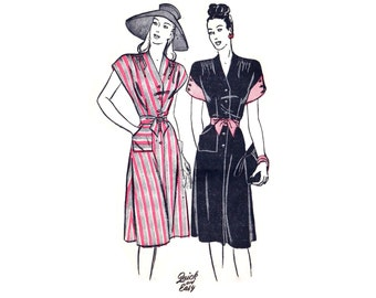 1940s Dress Pattern Butterick 3821, V Neck, Shoulder Gathers, Cap Sleeves, Contrast Cuffs, Quick & Easy, Vintage Sewing Pattern Bust 30
