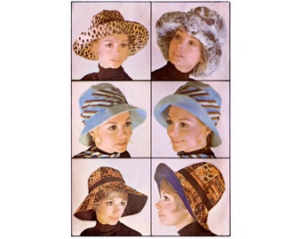 1960s Hat Pattern McCalls 2158, Floppy Hats, 6 Section Crown, Narrow or Wide Brim, Ribbon, 1969 Vintage Sewing Pattern Size Small-Large