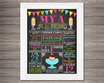 Ice Cream Chalkboard Birthday or School Year Sign | Digital DIY Printable | Summertime | Poster | Many Size Choices