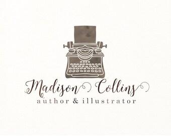 typewriter logo watercolor premade logo writer author - Logo Design #326
