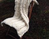 Large Super Chunky Knit Throw Super Soft Cream Shawl Hand Spun Hand Knit Lap Blanket