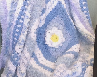 Shades of Blue and White Textured Crochet Afghan (Lap rug/throw)