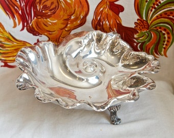 Vintage silver plate bowl…swirled bowl…shell shaped bowl…ocean wave bowl.
