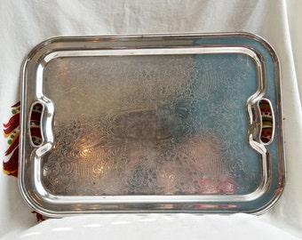 Vintage silver plate tray…Keystone tray with handles...shabby chic tray.