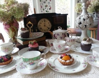 Mismatched English Tea Set for 4, Featuring Shelley Stock, Shelley Maytime, Gibson Teapot, Complete Tea Set, Alice in Wonderland Tea Set