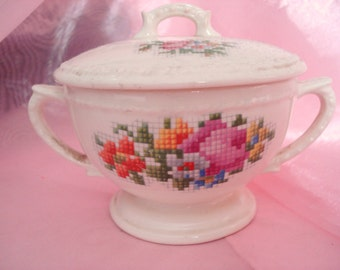 Vintage Shabby Sugar Bowl Petit Point Needlepoint Floral Taylor Smith Taylor Shabby Cottage Chic