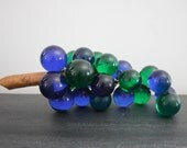 Mid century blue and green lucite grapes with wooden branch stem 60s 70s retro home decor interior decorator mad men mcm