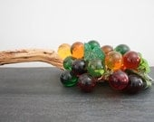 Mid century orange yellow and green lucite grapes with wooden branch stem 60s 70s retro home decor interior decorator mad men mcm