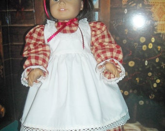 American Girl Victorian Red Check Dress Pinafore and Accessories     .