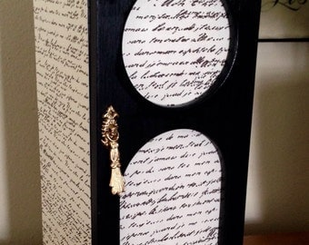 Jewelry Box Hand Painted Black/Decoupaged French Script and Polka Dots