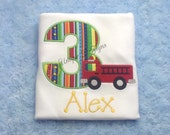 Firetruck Applique Shirt, Applique Birthday Number Shirt, Boys Fireman T-Shirt or Bodysuit Personalized
