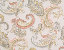 Grey and Pink Paisley Cotton Upholstery Fabric Yardage - Modern Paisley Curtain Material - Pink Paisley Throw Pillow - Grey Pink Home Decor