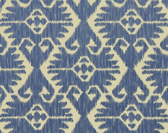 ON SALE - Blue Ikat Upholstery Fabric by the Yard - Heavyweight Ikat for Furniture
