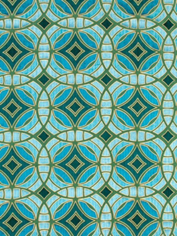 Geometric Teal Embroidered Upholstery Fabric Aqua Silk - Designer upholstery fabric teal