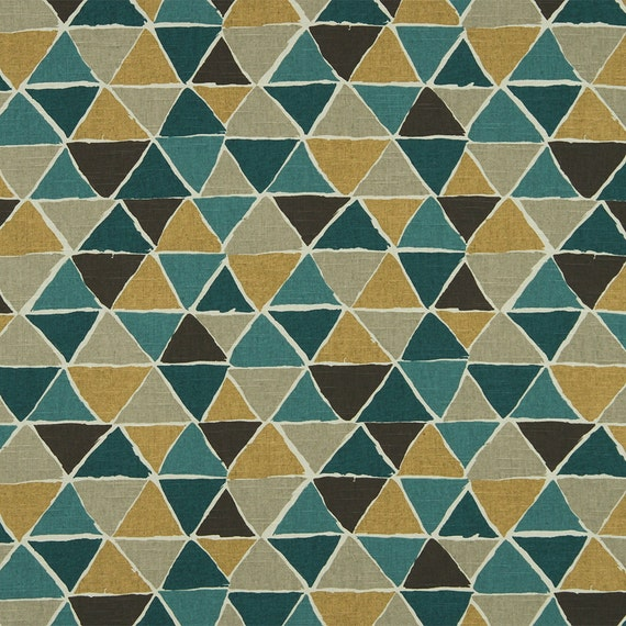 Geometric Teal And Mustard Yellow Upholstery Fabric Dark