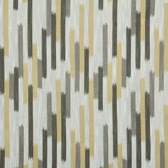 Grey Yellow Woven Ikat Upholstery Fabric Charcoal Grey