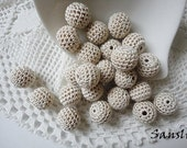 12 pcs -13 mm beads-crocheted bead-beige beads-round beads-crochet ball beads-beads crochet-embellishment-wooden crochet cotton yarn beads