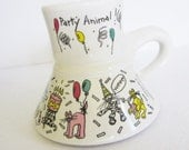 Vintage Feltman Langer Party Animal Cats No Spill Coffee Mug, Crazy Cats Mug, Wide Bottom Coffee Mug, Catrinka Designs