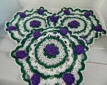 Vintage Doilies Purple Roses, Hand Crochet Roses, Cottage Decor Set/3, Tea Table