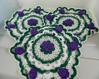 Vintage Doilies Purple Roses, Hand Crochet Roses, Cottage Decor Set/3, Tea Table