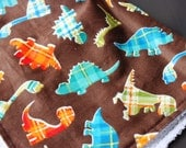 Plaid Dinosaurs Burp Cloth/ Burp Rag - set of 2