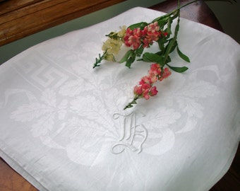 Tablecloth Irish Linen Monogrammed Damask Snowy White