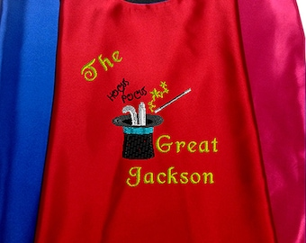 Kid's Cape,  The Great Magician Cape with your child's Name  Embroidered Personalized Superhero cape