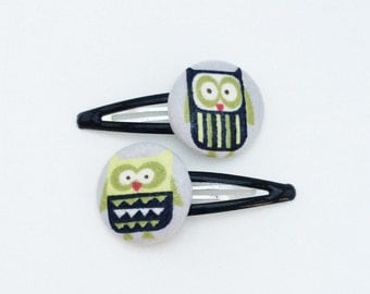 Owl hair clips - fabric buttons (set of 2)