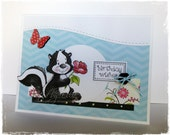 CUTE Handmade Greeting Card - Skunk with Rose - Birthday Wishes by HoneyblossomDesigns