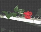 Rose on Piano Needlepoint Kit by Pepita