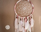 Dream Catcher - Soft Dawn - With White Feathers, Hand Dyed Textiles and Vintage Laces - Boho Home Decor, Nursery Mobile