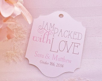 Jam Packed with Love - Wedding Favor Tags - Personalized - Bridal Shower - Baby Shower - CUSTOM COLORS WT-019
