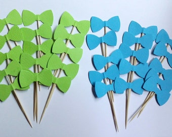24 pieces Mixed Turquize & Light Green Bowtie, double sided, Cupcake Toppers, Food Picks