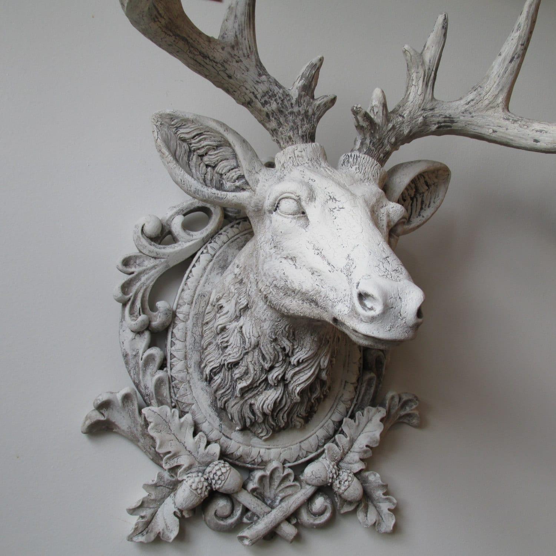 Faux Buck Elk Head Wall Mount French Nordic Ornate White