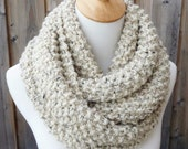 Oatmeal Wool Infinity Scarf - Beige Wool Scarf with Black and Brown Flecks - Lambswool Scarf - Bulky Knit Scarf - Ready to Ship