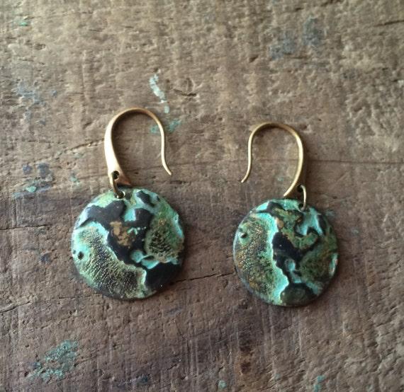 Verdigris Globe Trotter- Tiny Green Patina World Globe Map Earrings