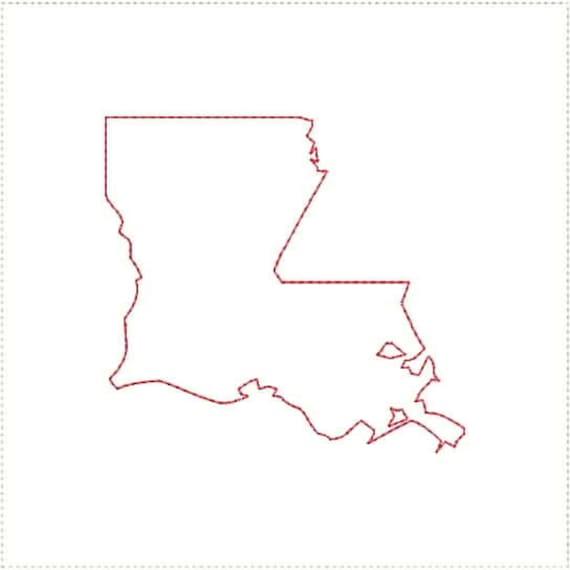 Louisiana LA Outline and Heart US United States Embroidery