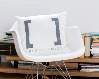 Free Your Mind - Decorative Cushion Cover by [LOVE TO BE] 17.7 x 17.7 inch 100% Cotton Inspirational Bedding + Home Décor - Handprinted